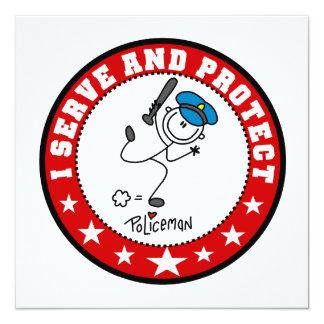 Sirva y proteja al policía invitación 13,3 cm x 13,3cm