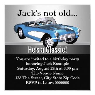 """Sirve a la fiesta de cumpleaños azul del coche invitación 5.25"""" x 5.25"""""""