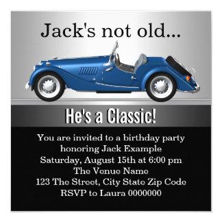 """Sirve a la fiesta de cumpleaños clásica del coche invitación 5.25"""" x 5.25"""""""