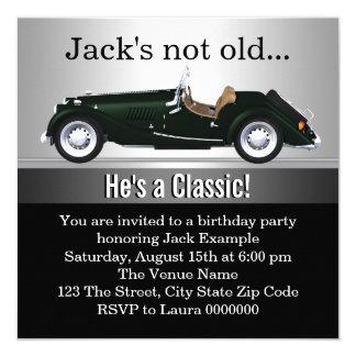 """Sirve a la fiesta de cumpleaños del coche antiguo invitación 5.25"""" x 5.25"""""""