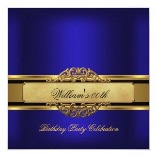 """Sirve a la fiesta de cumpleaños del oro del azul invitación 5.25"""" x 5.25"""""""