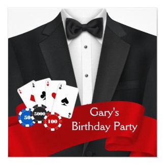 Sirve a la fiesta de cumpleaños del póker invitación 13,3 cm x 13,3cm
