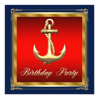 """Sirve a la fiesta de cumpleaños náutica invitación 5.25"""" x 5.25"""""""