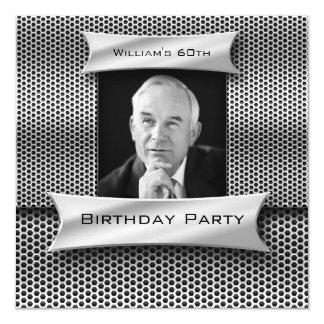 """Sirve cumpleaños negro del metal plateado del invitación 5.25"""" x 5.25"""""""