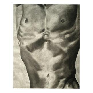 Sirve el torso en carbón de leña en la lona cuadro