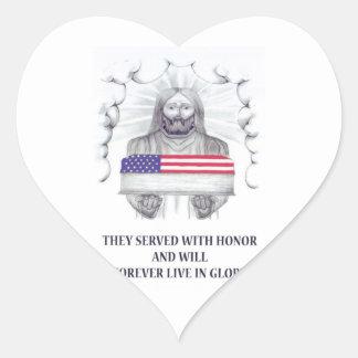 sirvieron con honor vivirán para siempre en gloria pegatina de corazon