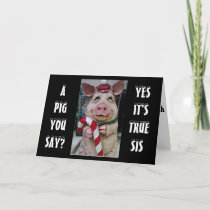 SIS- THIS PIGGY AND HIS CANDY CANE JUST FOR YOU HOLIDAY CARD