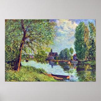 Sisley - River landscape at Moret-sur-Loing Poster