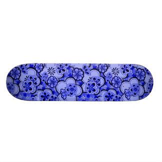 Sissy Retro Flowers Blue Sapphire Girly Skateboard