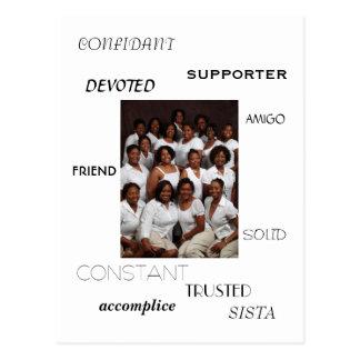 SISTA, FRIEND, AMIGO, CONFIDANT, SUPPORTER, acc... Postcard