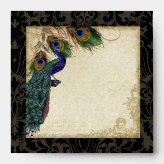 Sistema a juego elegante del pavo real y del boda