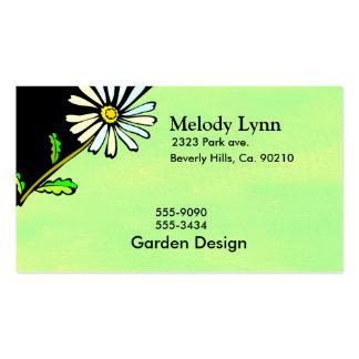 Sistema amarillo pasado de moda de la margarita tarjetas de visita