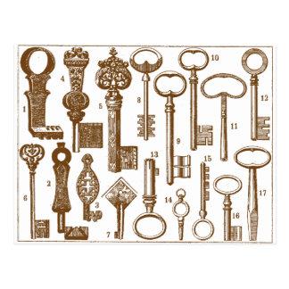 Sistema antiguo pasado de moda de la llave del vin postales
