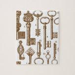 Sistema antiguo pasado de moda de la llave del vin puzzle