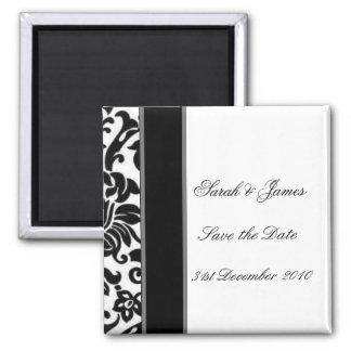 Sistema blanco y gris negro rayado del boda del da imán para frigorífico