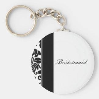 Sistema blanco y gris negro rayado del boda del da llavero redondo tipo pin