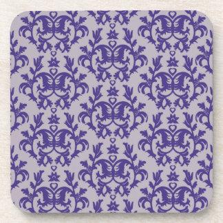 Sistema botánico púrpura y gris del damasco de 6 posavasos