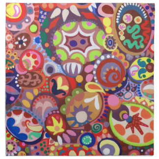 Sistema colorido de la servilleta del arte abstrac