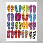 Sistema colorido del vector de los flips-flopes posters