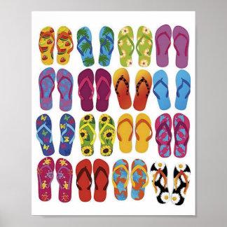 Sistema colorido del vector de los flips-flopes póster