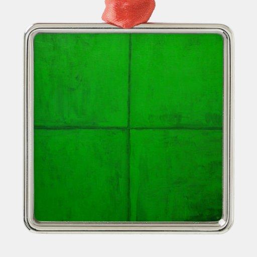 Sistema coordinado verde natural (minimalism adorno navideño cuadrado de metal