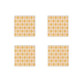 Sistema de argyle amarillo retro de los imanes imán de piedra