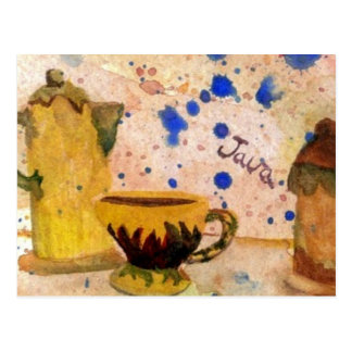 Sistema de café - arte popular del café de tarjetas postales