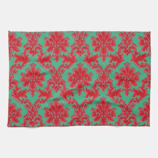 Sistema de cena casero del damasco verde rojo del toallas de mano