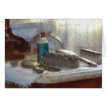 Sistema de cepillo de plata elegante de pelo tarjetón