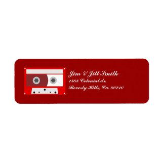 Sistema de cinta rojo de casete de música etiqueta de remite