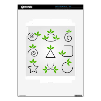 Sistema de elementos del diseño con follaje verde calcomanías para el iPad 2