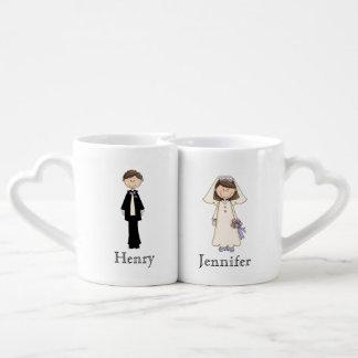 Sistema de encargo de la taza de novia y del novio taza para enamorados