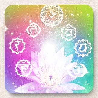 sistema de energía de la aureola de los chakras de posavasos de bebida
