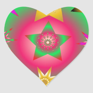 sistema de estrellas luminosas esféricas abstracta pegatina de corazón personalizadas