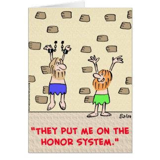 sistema de honor de los presos tarjeta de felicitación