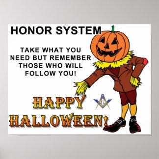 Sistema de honor masónico de Halloween Póster