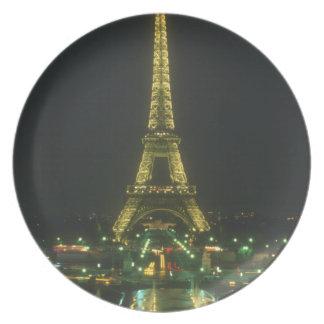 Sistema de la decoración de la torre Eiffel Plato De Cena