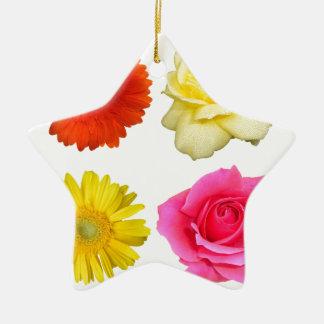 sistema de la flor adorno navideño de cerámica en forma de estrella