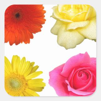 sistema de la flor pegatina cuadrada