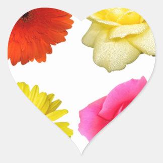 sistema de la flor pegatina en forma de corazón