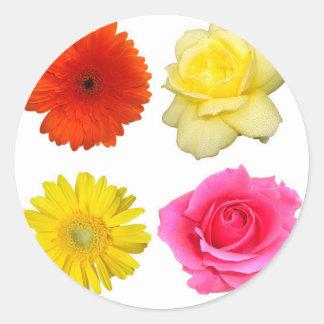 sistema de la flor pegatina redonda