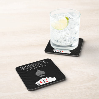 Sistema de la noche del póker de la tela a rayas posavasos de bebida