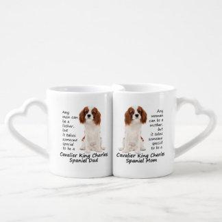 Sistema de la taza de la mamá y del papá del perro taza amorosa