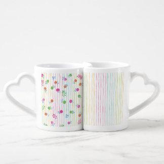 Sistema de la taza de los amantes de las flores tazas para enamorados