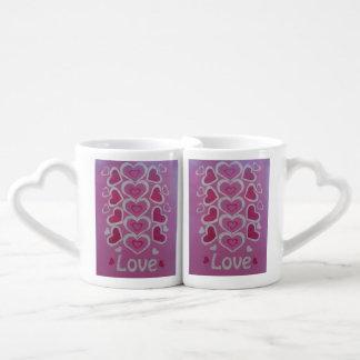 Sistema de la taza de los amantes de Lovehearts Tazas Amorosas