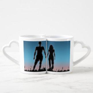 Sistema de la taza de los amantes jovenes de los tazas para enamorados