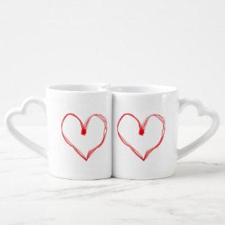 Sistema de la taza de los amantes rojos de los tazas para parejas