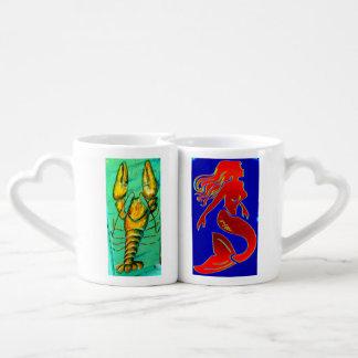 sistema de la taza del amante de la langosta y de taza para enamorados