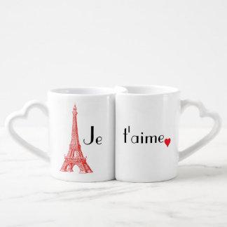 Sistema de la taza del amor de París del t'aime de Taza Para Enamorados