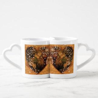 Sistema de la taza del café/del té del corazón de taza para parejas